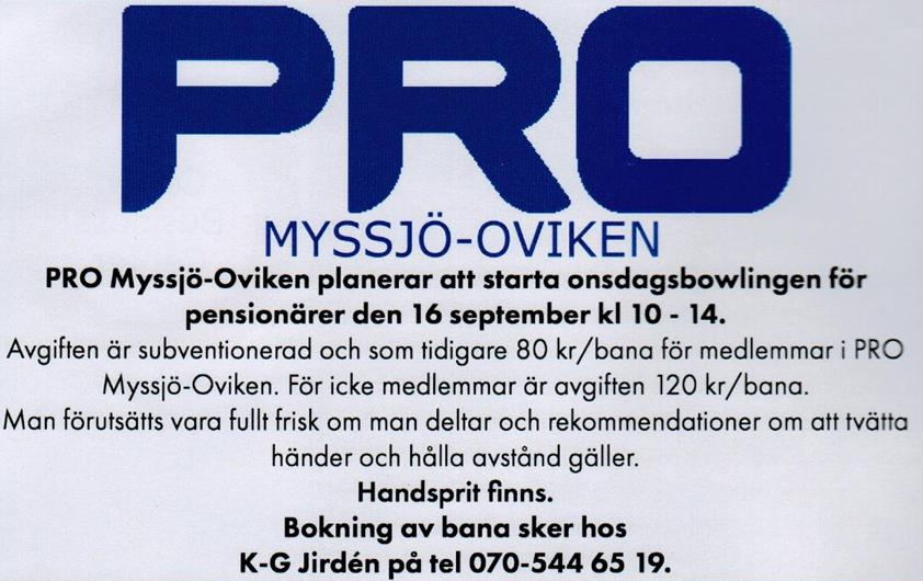 Onsdagar: BOWLING för PENSIONÄRER  kl 10 - 14