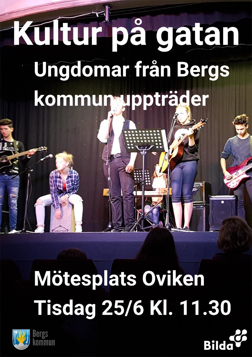 Kultur p gatan. Ungdomar från Bergs kommun uppträder.