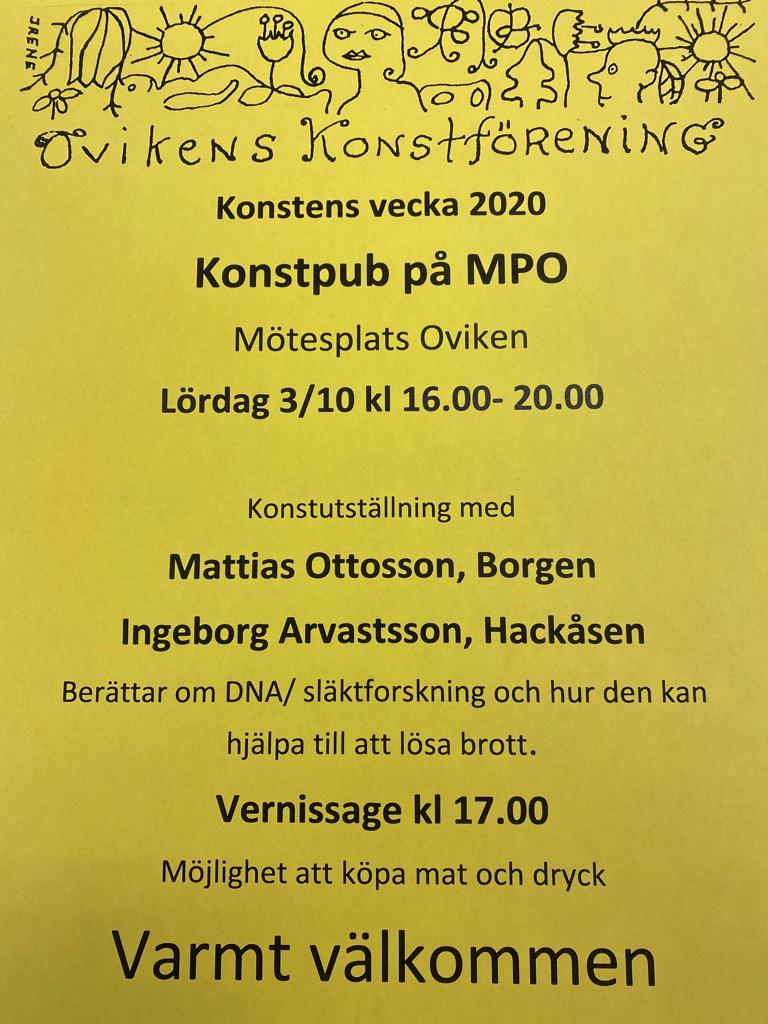 KONSTENS VECKA  Konstutställning, föredrag och pub